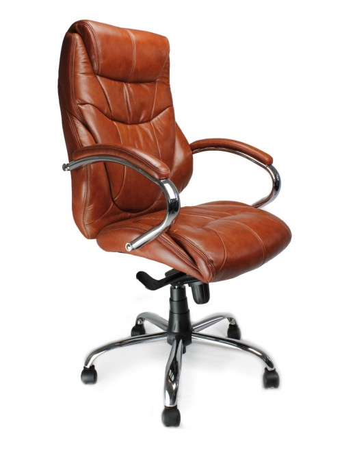 Office Chair Tan Leather Faced Sandown Executive Chair 617KTAG/TN by Eliza Tinsley