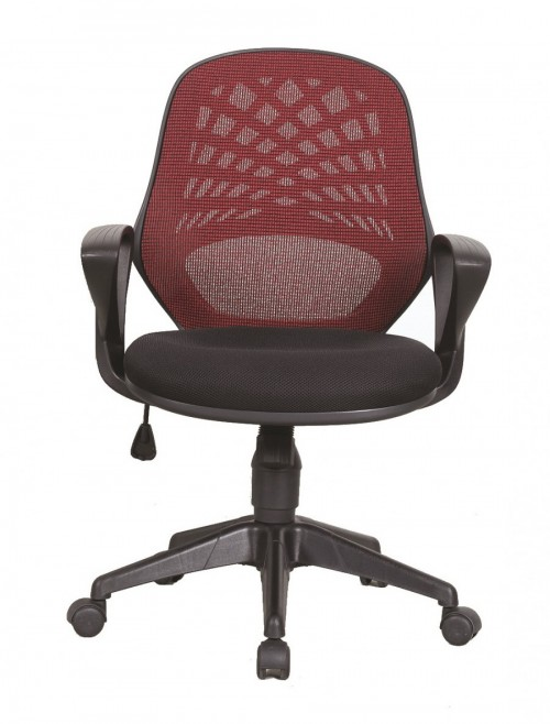 Mesh Office Chair Red Lattice Operators Chair BCM/K116/RD by Eliza Tinsley