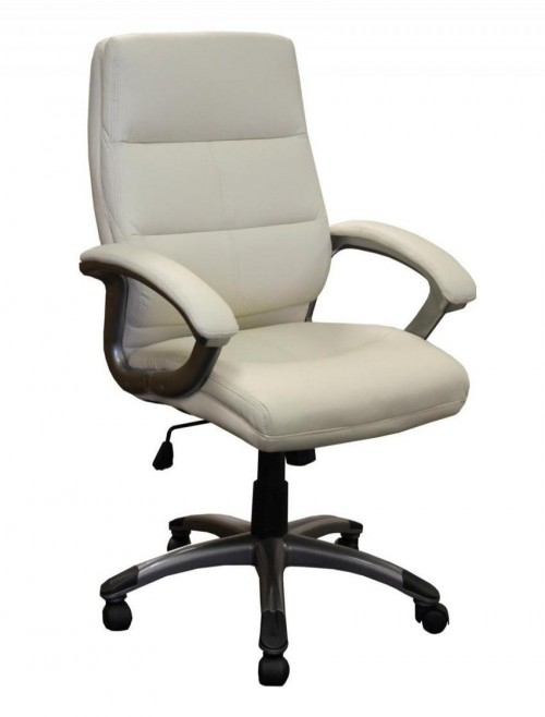 Office Chairs Cream Leather Effect Greenwich Executive Chair BCP/T101/CM by Eliza Tinsley
