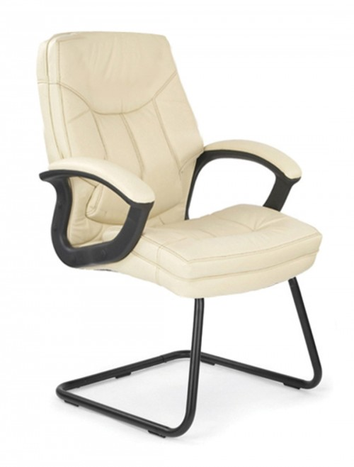 Visitors Chair Cream Leather Hudson Cantilever Chair 608AV/LCM by Eliza Tinsley