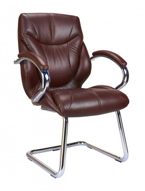 Visitors Chair Brown Leather Sandown Cantilever Chair 617AV/BW by Eliza Tinsley