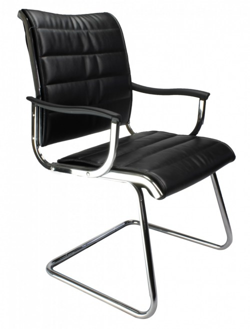 Visitors Chair Black Leather Effect Carbis Cantilever Chair 701AV/BK by Eliza Tinsley
