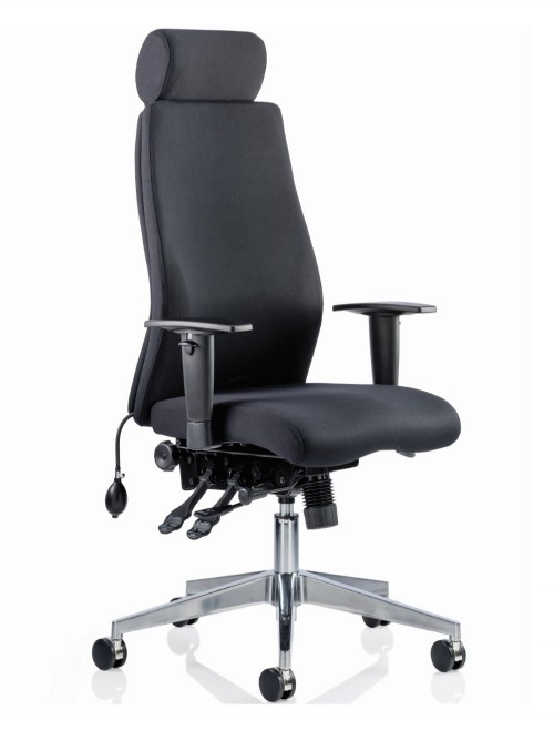 Office Chair Black Onyx 24 Hour Ergonomic Computer Chair with Headreast OP000094 by Dynamic