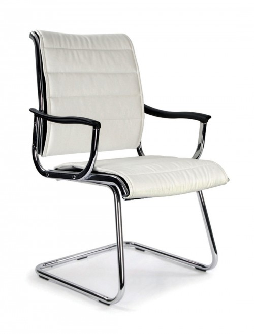 Visitors Chair White Leather Effect Carbis Cantilever Chair 701AV/WH by Eliza Tinsley