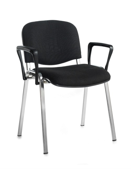 Stacking Chairs Taurus Black Reception Chairs with Arms TAU40006-K by Dams
