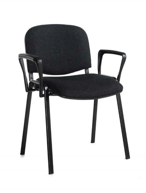 Stacking Chairs Taurus Charcoal Reception Chairs with Arms TAU40003-C by Dams