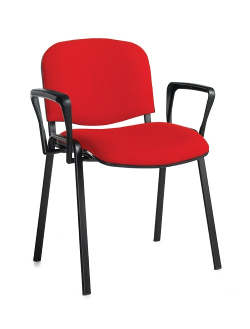 Stacking Chairs Taurus Red Reception Chairs with Arms TAU40003-R by Dams