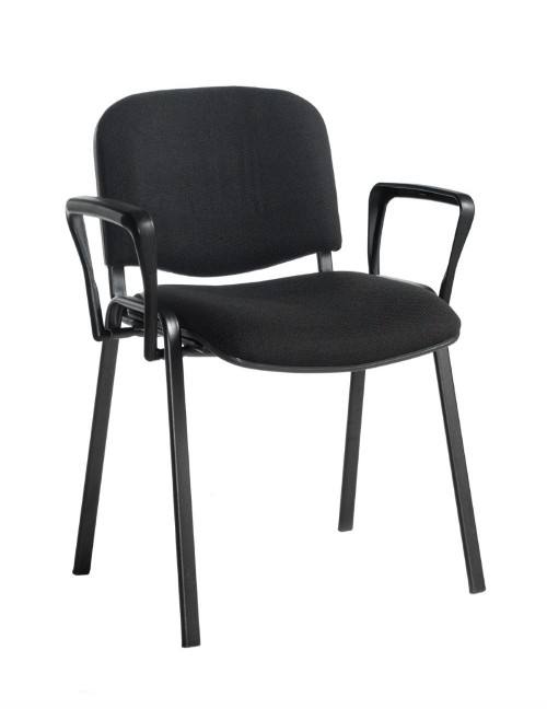 Stacking Chairs Taurus Black Reception Chairs with Arms TAU40003-K by Dams