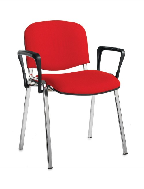 Stacking Chairs Taurus Red Reception Chairs with Arms TAU40006-R by Dams