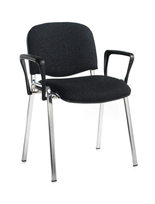 Stacking Chairs Taurus Charcoal Reception Chairs with Arms TAU40006-C by Dams