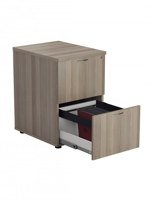 Office Storage Grey Oak Filing Cabinet 2 Drawer TES2FCGO by TC