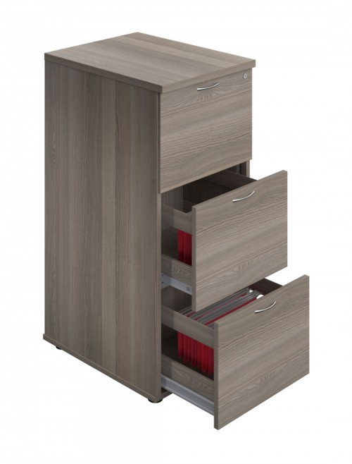 Office Storage Grey Oak Filing Cabinet 3 Drawer TES3FCGO by TC