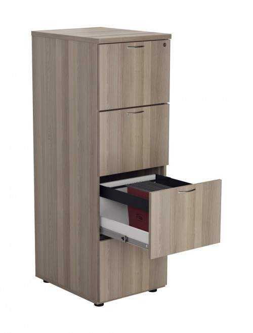 Office Storage Grey Oak Filing Cabinet 4 Drawer TES4FCGO by TC
