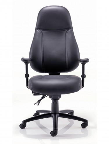 Office Chairs - TC Cheetah 24-Hour Black Leather Office Chair CH1110