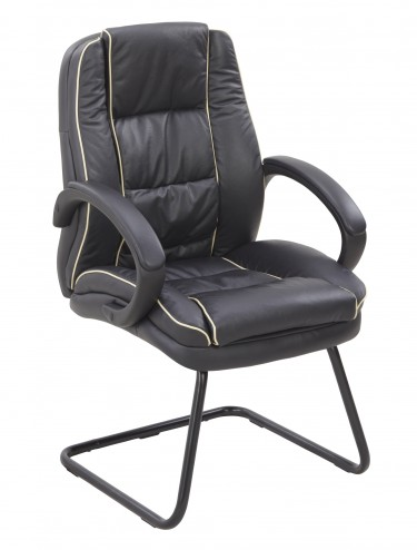 Truro-C Leather Faced Cantilever Visitors Armchair 609AV/L