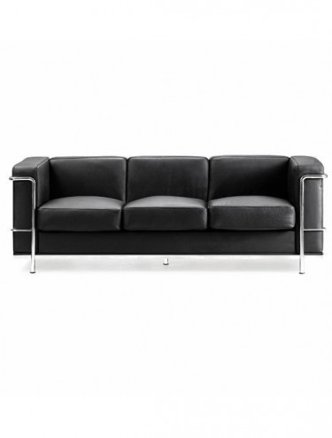 Belmont Leather Faced Reception Three Seater Sofa BSL/X202/BK