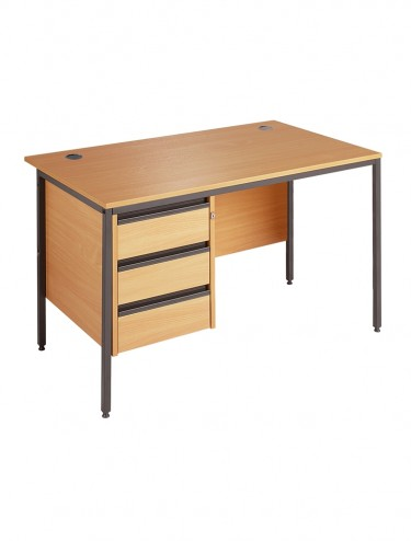 H4P3 Maestro Straight Desk with 3 Drawer Pedestal H4P3 1228mm wide