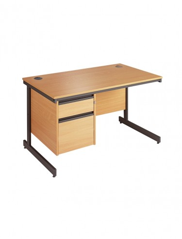 Maestro 1228mm Straight desk with 2 Drawer Pedestal C4P2