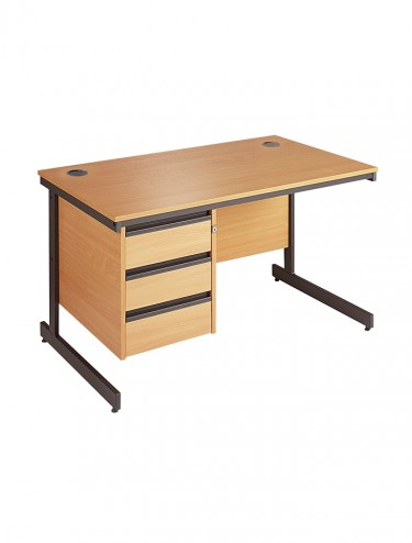 Maestro Straight Desk C6P3 with 3 Drawer Pedestal 1532mm wide