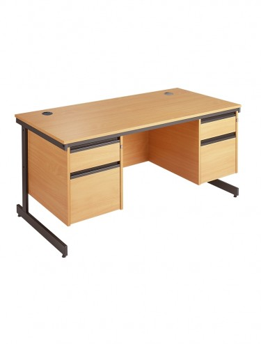 Maestro Straight Desk with 2 x 2 Drawer Pedestals 1532mm wide C6P22