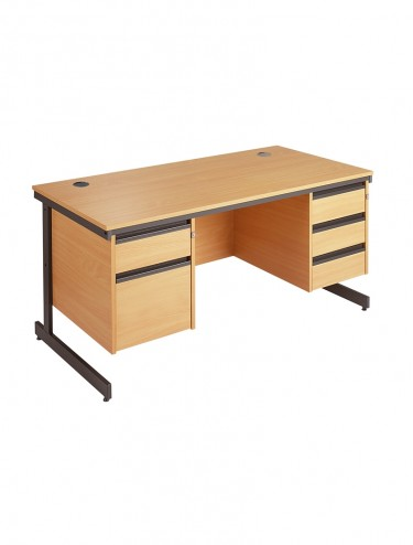 Maestro Straight Desk C6P23 with 2 & 3 Drawer Pedestal 1532mm wide