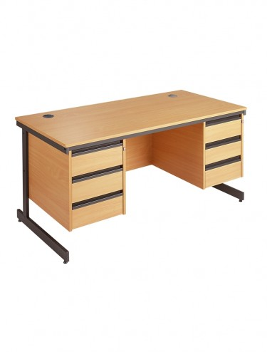 Maestro Straight Desk C6P33 with 2 x 3 Drawer Pedestal 1532mm wide