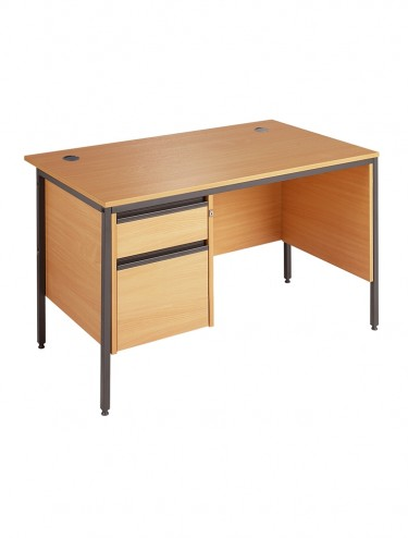 Maestro H4MP2 Straight Desk 1228mm w/ 2 Drawer Pedestal and side panel