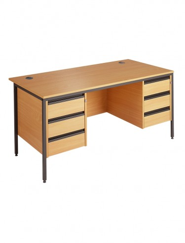 Maestro H6P33 Straight Desk with 2 x 3 Drawer Pedestals 1532mm wide