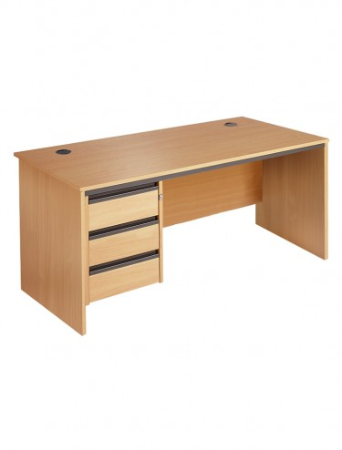 Maestro S6P3 Straight desk 1532mm w/ 3 drawer pedestal and panel ends