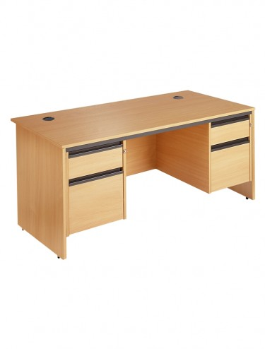 Maestro S6P22 1532mm Straight  desk with 2x 2 drawer pedestals