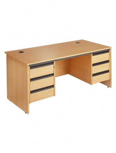 Maestro S6P33 Straight desk 1532mm w/ 2x 3 drawer pedestals