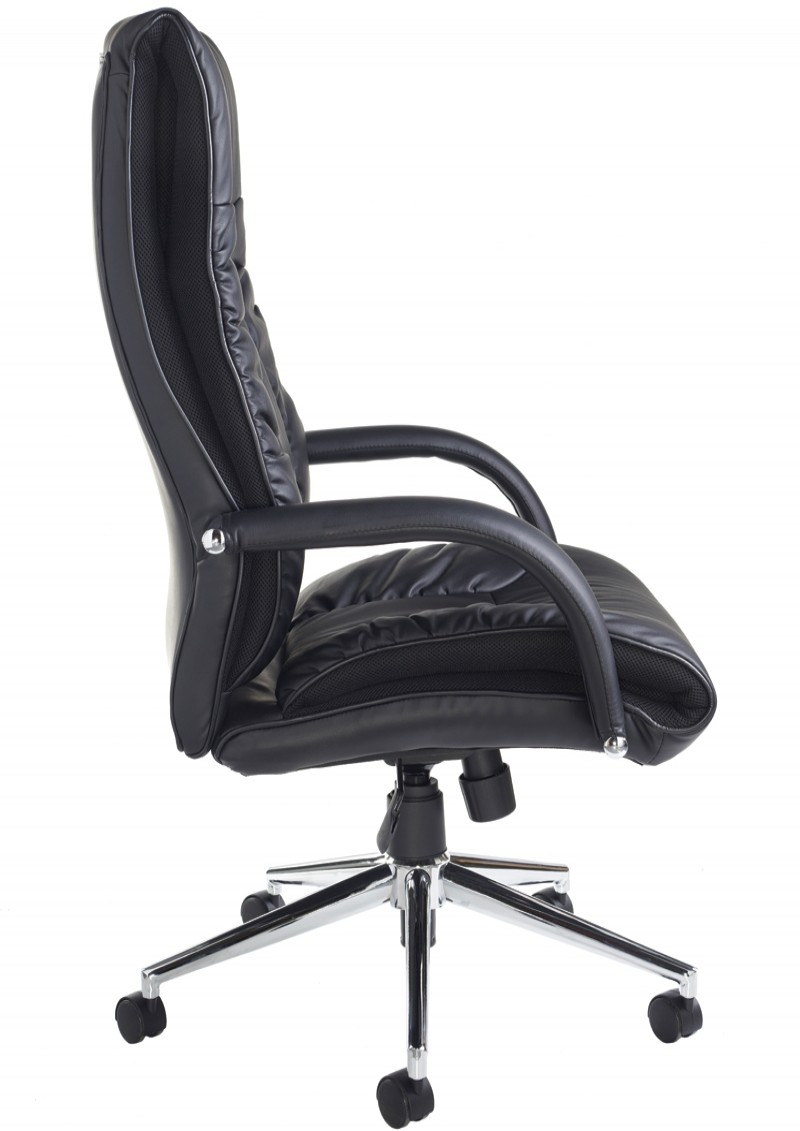 DER300T1-BLK Derby Leather Faced High Back Executive Chair
