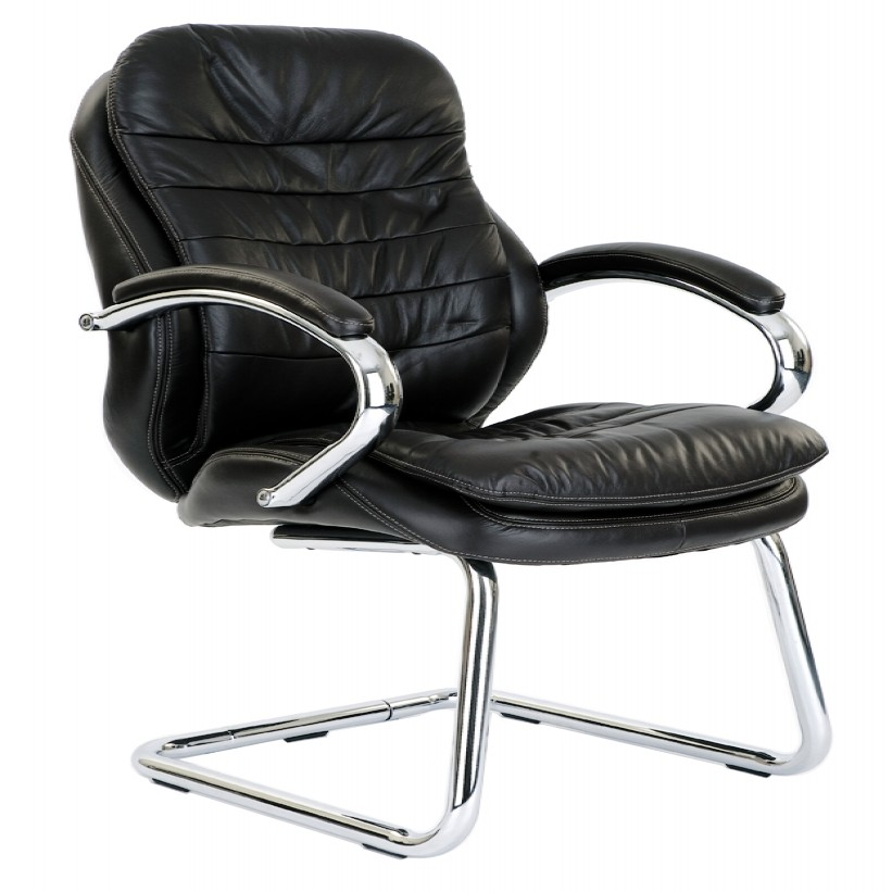 Leather Faced Cantilever Visitors Chair 618AV/L   Enlarged View