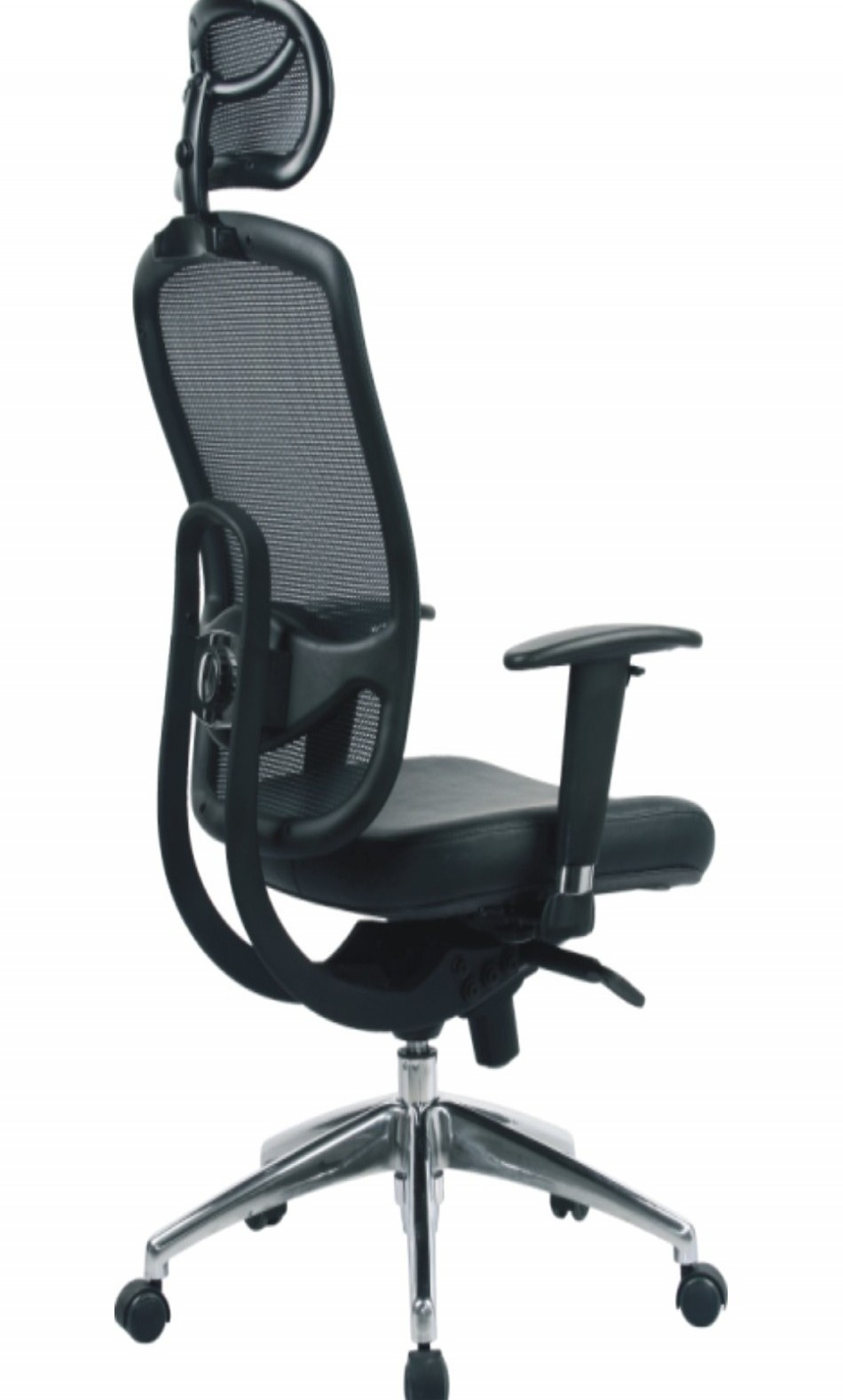 high back mesh office chair with leather effect headrest. mesh high back executive armchair 80hbsy/ahr (with adjustable headrest) - enlarged view office chair with leather effect headrest